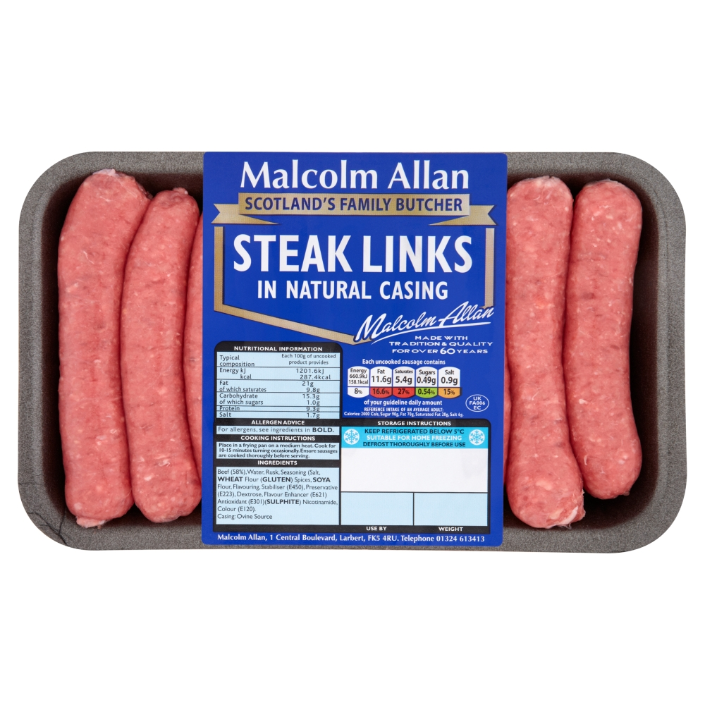 steak links in natural casing